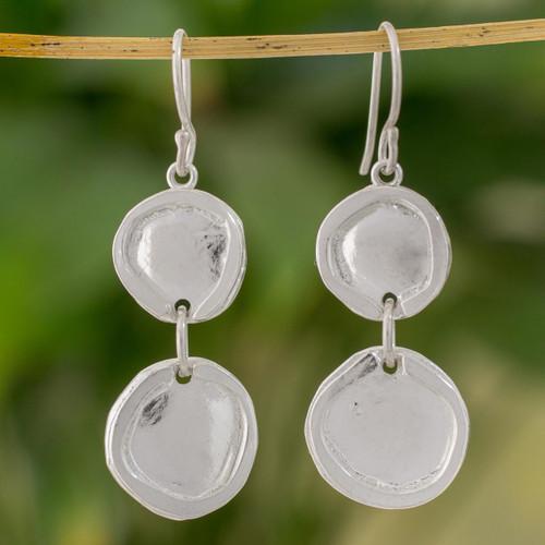 Fine Silver Modern Circle Dangle Earrings from Guatemala 'Creative Circles'