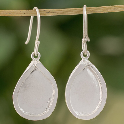 Fine Silver Droplet Dangle Earrings from Guatemala 'Creative Drops'
