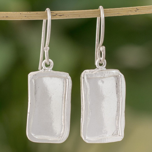 Fine Silver Rectangular Dangle Earrings from Guatemala 'Shimmering Mirrors'