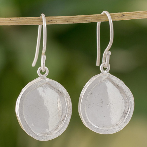 Combination Finish Fine Silver Shimmering Dangle Earrings 'Shimmering Circles'