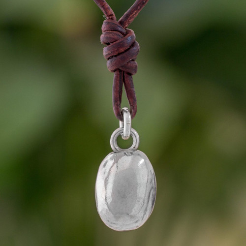 Fine Silver Guatemalan Pendant Necklace with Leather Cord 'Shimmering Egg'