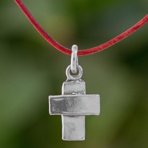 Fine Silver Cross Pendant Necklace wth Cord from Guatemala 'Spiritual Inspiration'
