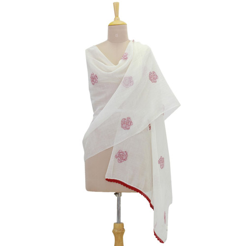 Cotton and Silk Shawl in Champagne and Claret from India 'Chikan Roses in Claret'