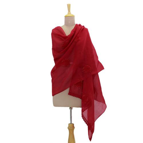 Cotton and Silk Blend Hand Embroidered Shawl in Crimson 'Crimson Romance'