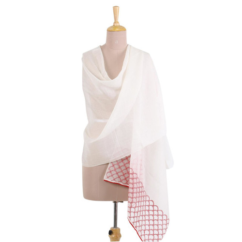 Cotton and Silk Blend Indian Shawl in Natural and Strawberry 'Strawberry Picnic'