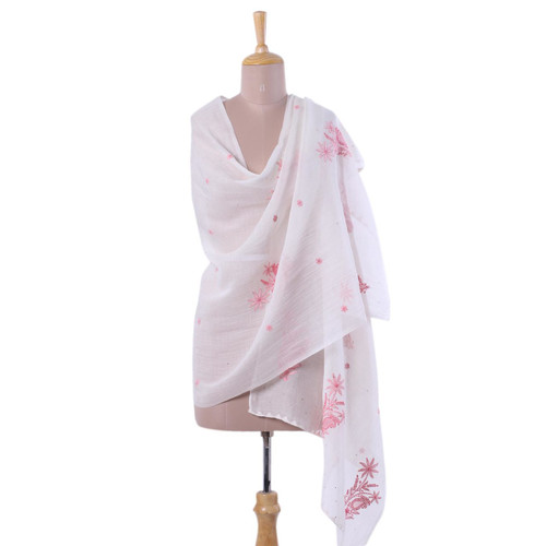 Hand-Embroidered Light Pink Paisley Motif Shawl from India 'Pink Blush'