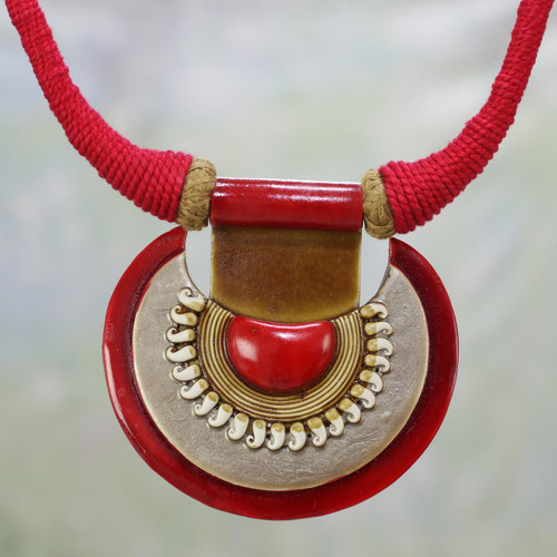 Ceramic and Cotton Pendant Necklace in Red from India 'Ancient Glow'