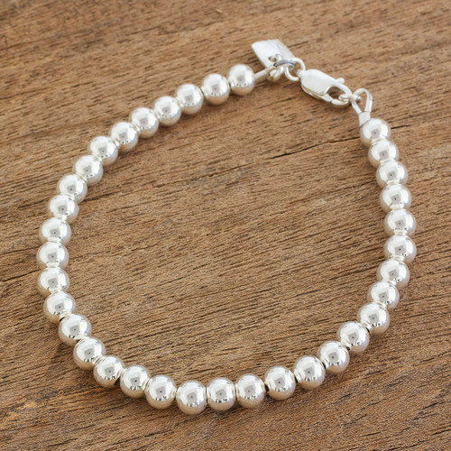 Gleaming Sterling Silver Beaded Bracelet from Guatemala 'Beauty in Simplicity'