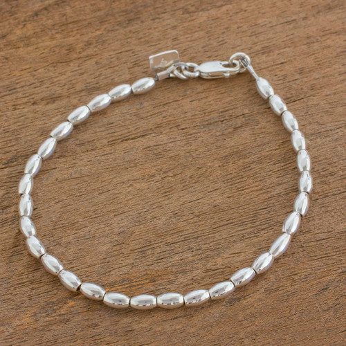 Elegant Sterling Silver Beaded Bracelet from Guatemala 'Peaceful Gleam'