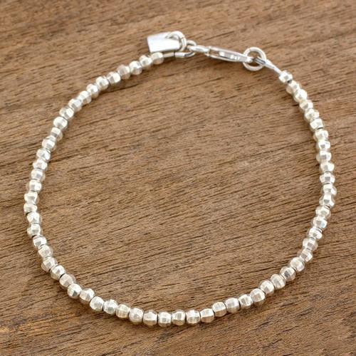 Geometric Sterling Silver Beaded Bracelet from Guatemala 'Gleaming Geometry'