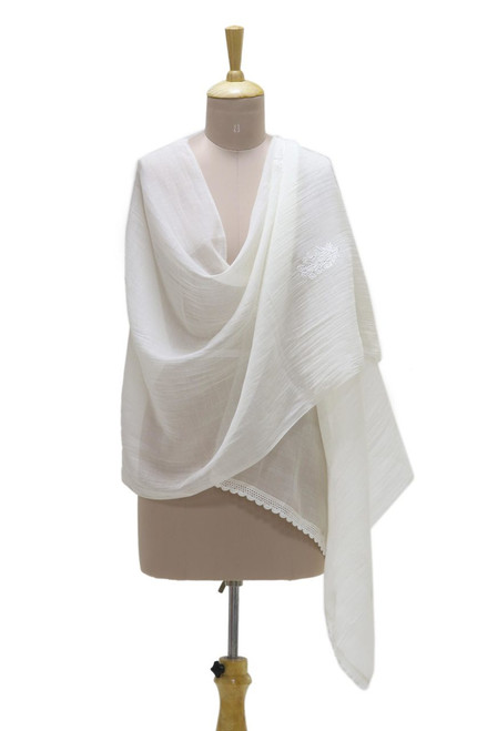 Warm White Embroidered Sheer Cotton and Silk Blend Shawl 'Blossoming Bouquet'