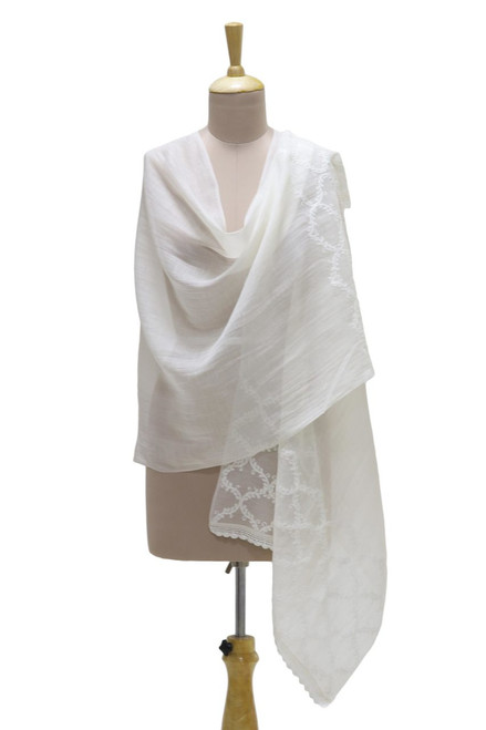 Warm White Embroidered Sheer Cotton and Silk Blend Shawl 'Chikan Chic'