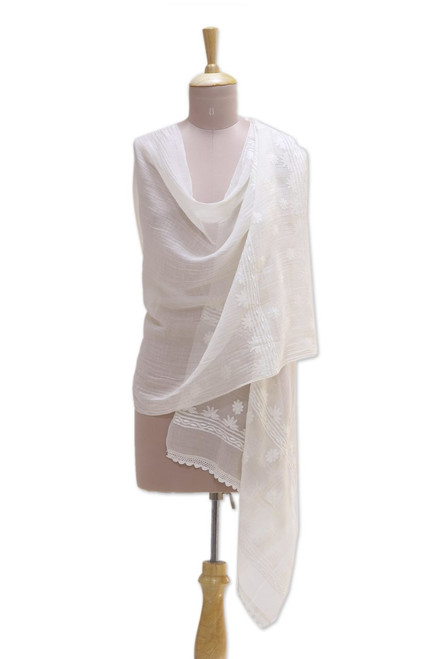 Warm White Embroidered Sheer Cotton and Silk Blend Shawl 'Classic Beauty'