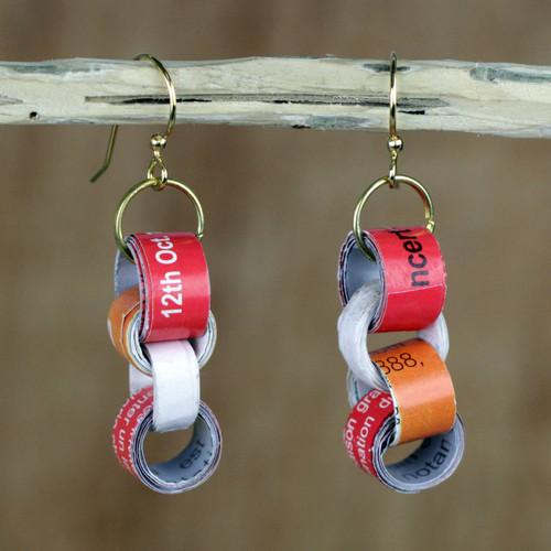 Chain Motif Recycled Paper Dangle Earrings from Ghana 'Eco Nkonson'