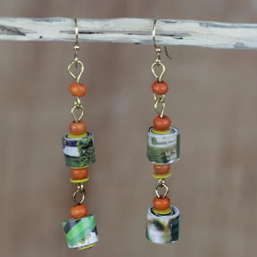 Handcrafted Recycled Paper and Sese Wood Dangle Earrings 'Akosombo Light'