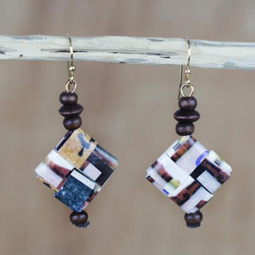 Recycled Paper and Sese Wood Dangle Earrings from Ghana 'Maize and Peanuts'