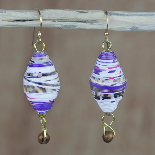Handmade Recycled Paper and Wood Dangle Earrings from Ghana 'Majestic Abladei'