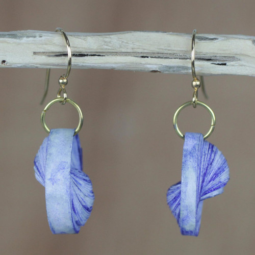 Blue Recycled Paper Dangle Earrings from Ghana 'Beach at Dawn'