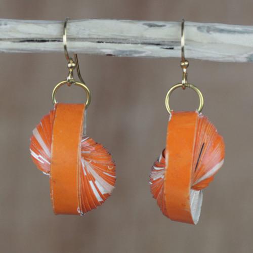 Orange Recycled Paper Dangle Earrings from Ghana 'Orange Glory'