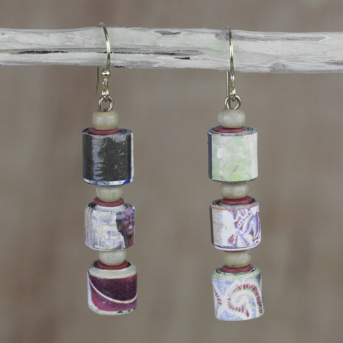Recycled Paper and Sese Wood Dangle Earrings from Ghana 'Naa Araa Royalty'