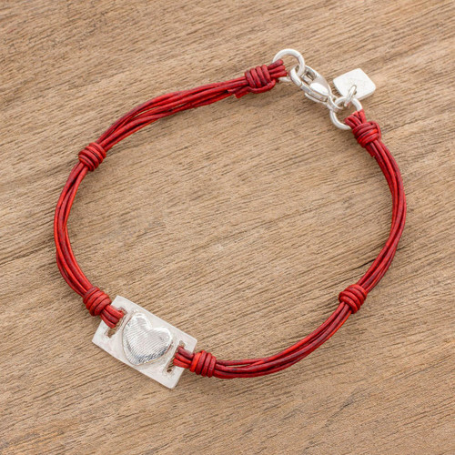 Fine Silver and Red Leather Heart Bracelet from Guatemala 'Love Rectangle'