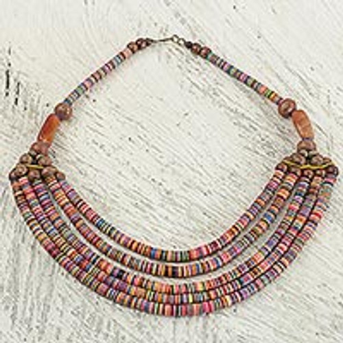 Artisan Multicolor Bead Necklace with Wood Agate and Leather 'Multicolor Wend Panga'