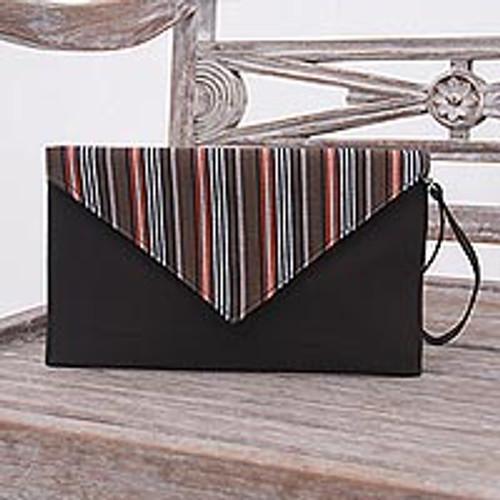 Brown and Orange Cotton Wristlet Clutch with Interior Pocket 'Lurik Amplop Brown'