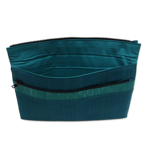 100% Cotton Teal Green Striped Tablet Sleeve from Indonesia 'Lurik Guardian Teal''