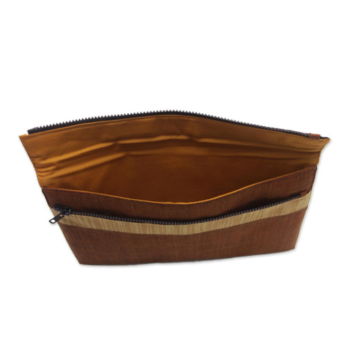 100% Cotton Brown Striped Tablet Sleeve from Indonesia 'Lurik Guardian Brown'
