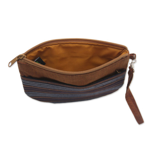 100% Cotton Striped Brown Clutch Exterior Pocket Wristlet 'Lurik Sphere Brown'