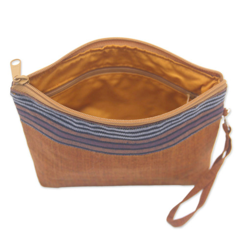 100% Cotton Striped Brown Clutch Interior Pocket Wristlet 'Lurik Parade Brown'