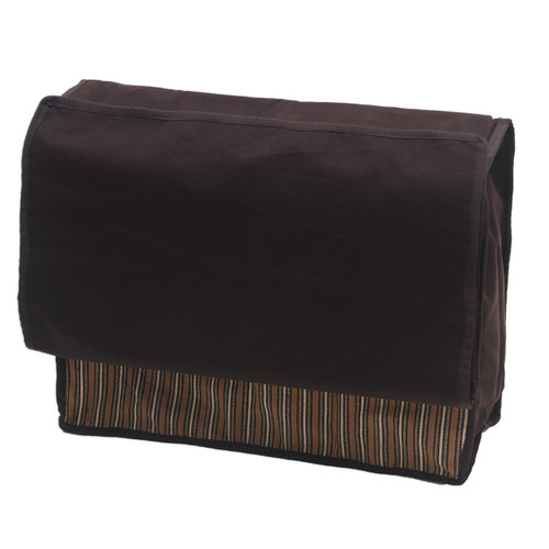 Hand Woven Chocolate Striped Cotton Organizer Bag 'Lurik Dreams Chocolate'