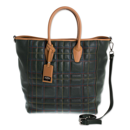 Green Tartan Tuscan Genuine Leather Travel Bag 'Italian Highlands'