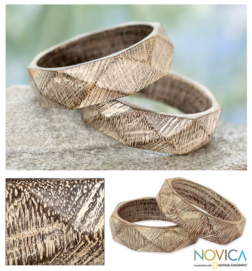 Wood Bangle Bracelets Hand Carved in India (Pair) 'Vintage Forest'