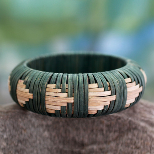 Handcrafted rattan bangle bracelet 'Toward the Forest'