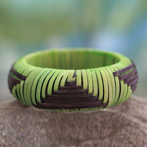 Handmade Modern Natural Fiber Bangle Bracelet 'Olive Hills'