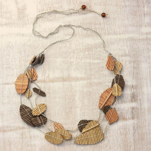 Handmade Bronze Copper Gold Recycled Paper Station Necklace 'Tale of Leaves'