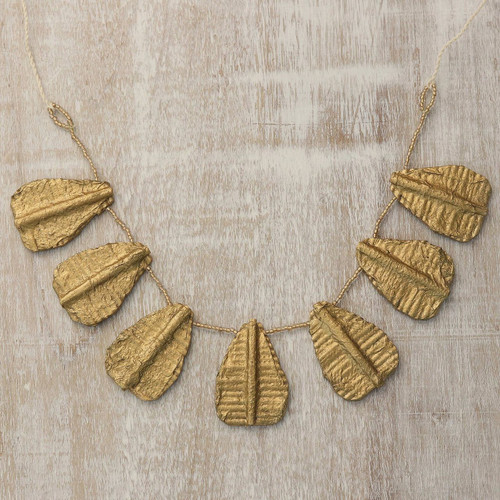 Handcrafted Recycled Paper and Glass Bead Pendant Necklace 'Golden Leaves'