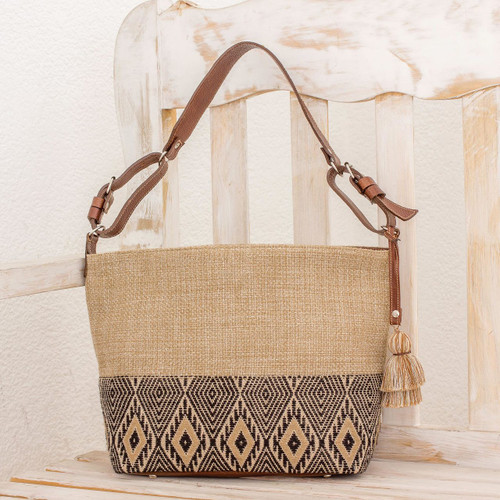 Leather-Accented All Cotton Maya Style Shoulder Bag 'Maya Ixcaco'