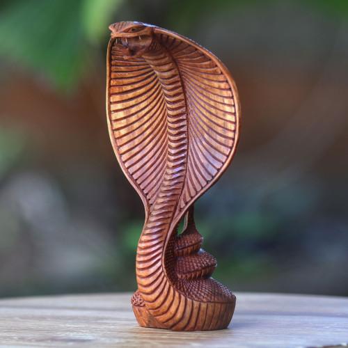 Hand Carved Wood Snake Sculpture 'Cobra'