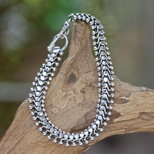 Sterling Silver Link Bracelet 'Centipede Crawl'