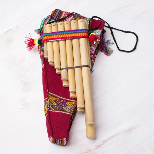 Unique Bamboo Zampona Panpipe with Case 'Malta Professional'
