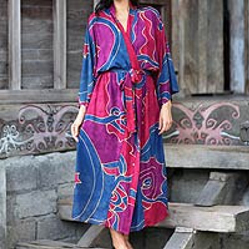 Women's Batik Patterned Robe 'Exotic Blue'