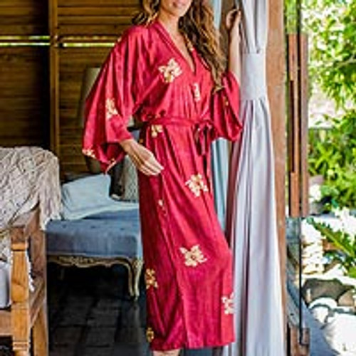 Handcrafted Balinese Rayon Batik Robe in Red and Yellow 'Red Passion'