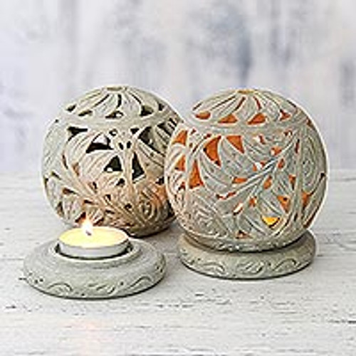 Natural Soapstone Candle Holder Hand Made Jali Pair Set 'Tea Roses'
