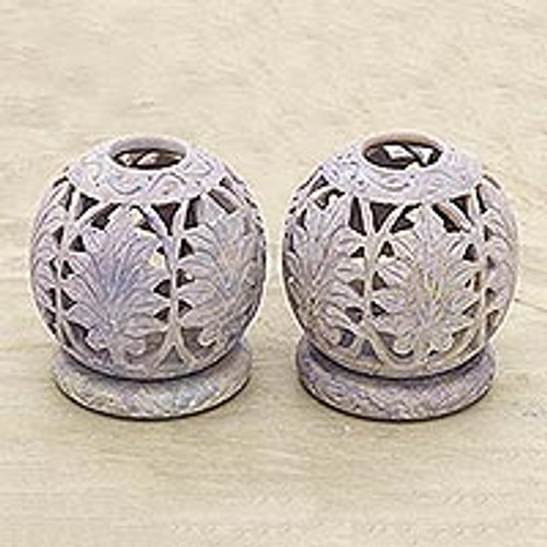 Handcrafted Natural Soapstone Candle Holders (Pair) 'Foliage'