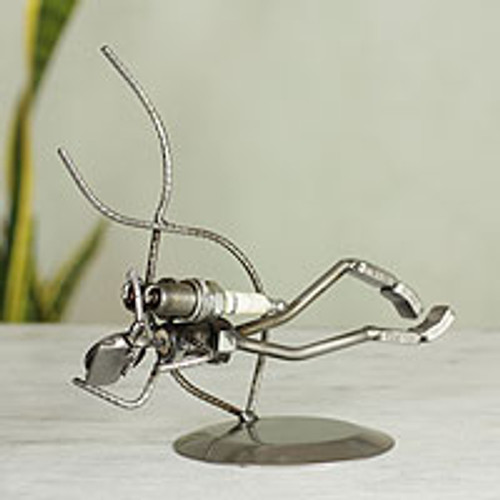 Handcrafted Eco Friendly Recycled Metal Sculpture 'Rustic Scuba Diver'