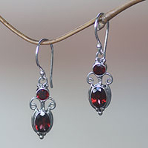 Sterling Silver Garnet Dangle Earrings 'Crown Princess'