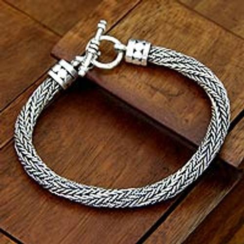 Men's Handmade Sterling Silver Chain Bracelet 'Currents'