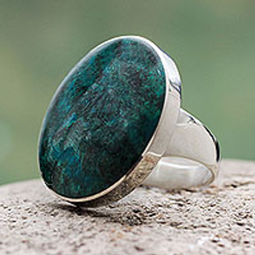 Chrysocolla and Sterling Silver Ring Peru 'Universe'